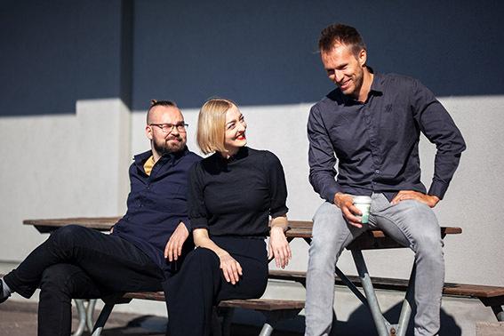 Jussi, Ida-Maria and Joonas enjoying their coffee break outside.
